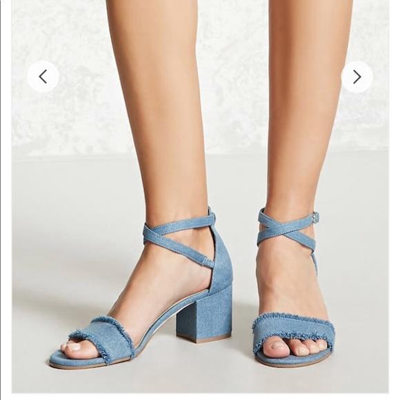 795842ec9739 Forever 21 Shoes - Forever 21 denim ankle wrap heels